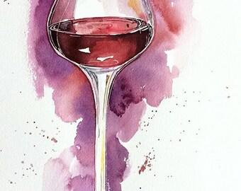 French Merlot - watercolor wine glass original