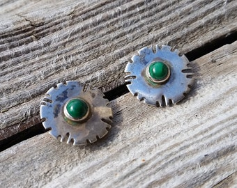 Vintage Mexican Malachite and Sterling Silver Earrings