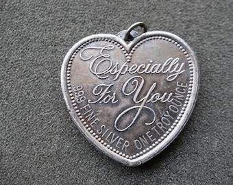 1 OZ. Silver Heart, .999 pure Silver pendant