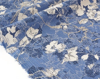Fabric blue floral cotton seersucker ecru x 50cm