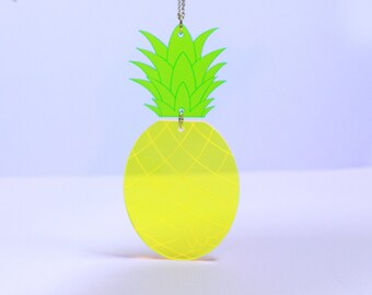 Pineapple. necklaces for women. gift for her. summer necklace. beach jewelry. statement jewelry. yellow jewelry. tropical jewelry