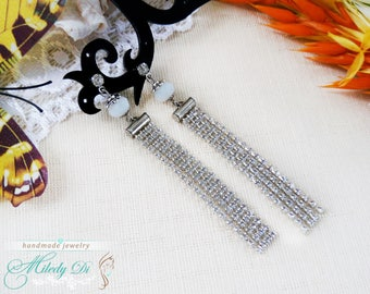 Crystal stud earrings Rhinestones romantic jewelry for bridesmaid Beauty gift-for-bride Wedding white jewelry Chandelier long earrings gift