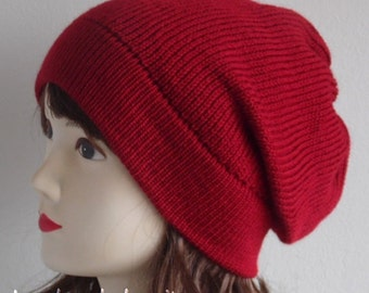 Red beanie, knitted red hat, slouchy beanie, fall hat, women's beanie, winter beanie, knitted from acrylic and lambswool blend yarn