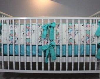 Dream Catcher Baby Crib Bumper, Dreamcatcher Baby Crib Bumper, Dream Catcher baby bedding, Dream Catcher Baby Blanket, Dream Catcher blanket