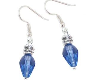 Blue faceted beads Christmas Lights earrings on hypoallergenic ear wires