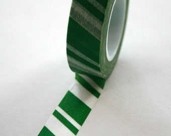 Washi Tape - 15mm - Green and White Candy Cane Stripe - Deco Paper Tape No. 144