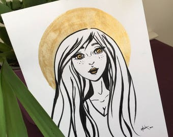 Gold Girl * Original ink painting * Study * One-of-a-kind
