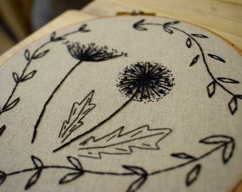 Monochrome Florals Embroidery art   6 inch hoop  