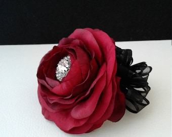 Ready to Ship Red Wrist Corsage-Rhinestone Wrist Corsage-Prom Corsage-Homecoming Flowers-Red Wedding Flowers
