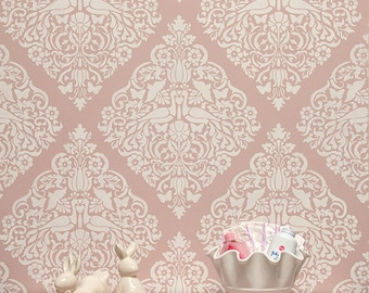 Vintage Lace Bird Wall Stencil for Painting an Allover Shabby Chic Vintage Damask Wallpaper Look