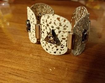 Vintage Deco Egyptian Revival Bracelet White and Gold Tone
