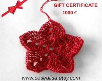 Valentine Gift Certificate, Last minute gift, Christmas gift, voucher 1000 Euro,  gift card, custom made gift, knitting gift, crochet gift