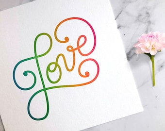 Love Art Print | Letterpress | Wall Art | Home Decor | lgbtq art | Love wall art for bedroom | anniversary gift | lgbtq print | Rainbow Art