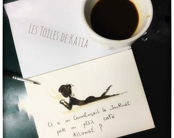 A little ' little coffee? Postcard size illustration