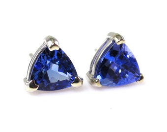 1.99 Carat AA Quality Tanzanite Stud Earring In 14k White Gold, December Birthstone, Beautiful fire in Purple Color, Rare Zoisite  (145171)