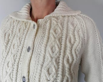 Vintage Traditional Cream Cable Knit Hand Knit Aran Wool Cardigan  Size S / M  Classic  Sailing