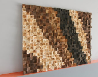 Rustic Wood Wall Art, Reclaimed Woodburning Wood Wall Art, Wood Mosaic,  Geometric Art, Wood Wall Art ,Wood Wall Sculpture Abstract Wood Art