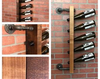 Industrial Style Steel Pipe Wood Wine Rack / Wall Mounted Wine Rack