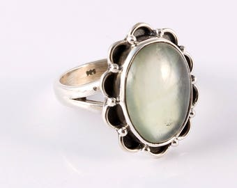 Prehnite 92.5 sterling silver ring size 6.5 us