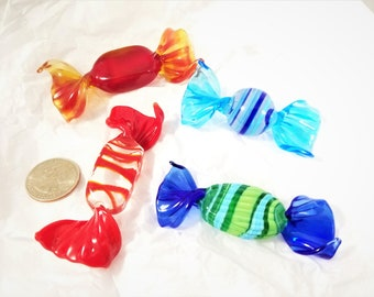 Hand Blown Glass Candy in Reds, Yellows, Greens, Blues.  Hand Blown Christmas Candy.