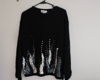 Extra Energy Sequin Tendril Sweater // vintage