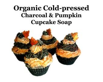 Organic Cold Pressed Charcoal Pumpkin Cupcake Soap for Acne, Rosacea, Eczema oily skin Detox
