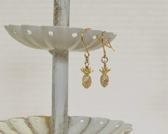 Petite Gold-Plated Pineapple Earrings, Victorian, Civil War Appropriate - Affordable Elegance