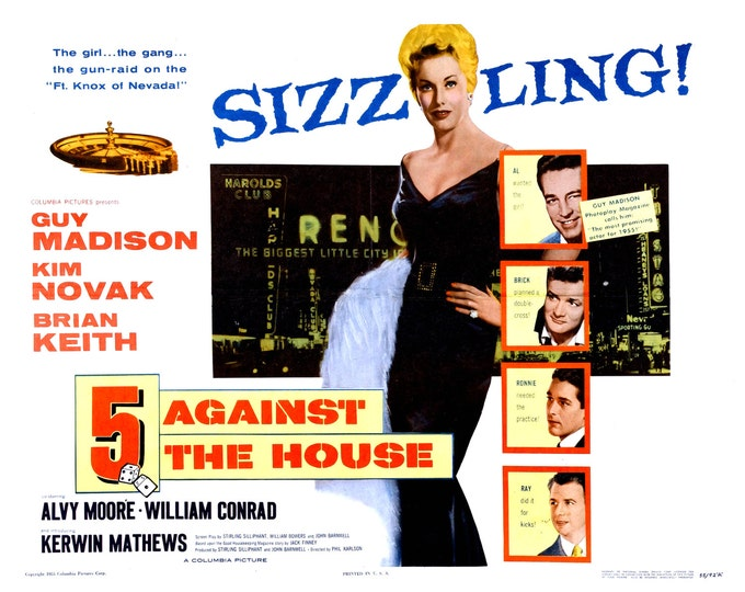 "Lobby Card From the Film ""5 Against the House"" Starring Kim Novak (Reproduction) - 8X10 or 11X14 Photo (MP-001)"