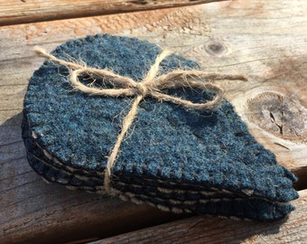 Set of 4 upcylcled wool leaf shaped coasters