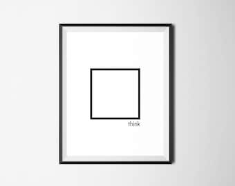 Motivational Print, Think Outside The Box, Motivational Wall Art, Motivational Quote, Minimalist Art, Minimal Digital Print