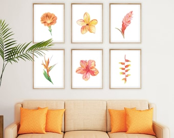 Tropical Flowers Printable Art Set of 6 Prints, Instant Digital Download tropical art watercolor floral painting island resort decor print