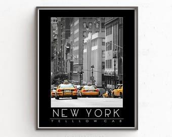 Yellow Taxi Print, New York print, New York Yellow Taxi Print, Manhattan Taxi Printable Instant Download, New York Yellow Cab Poster