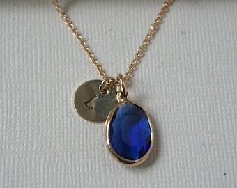 gemstone necklace, quick gift, initial necklace, bridesmaid gift, personalized necklace, bridesmaid jewelry, sapphire necklace, bridal