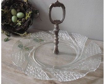 vintage lacy serving Platter .... plate ... wedding server ... Shabby cottage chic
