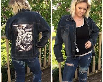 Ride or Die black denim jacket  size XL  to 1X