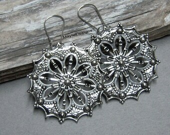 Silver Gipsy Earrings/Boho Bohemian Earrings/Large Light Weight Silver Earrings/Large Silver Earrings