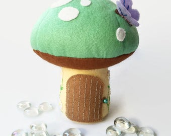 Tooth Fairy Pillow / Tooth Fairy House / Tooth Fairy Door / Tooth Fairy Pouch / Tooth Fairy Bag / Fairy Toadstool - Mint Green