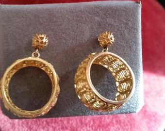 Earrings Vintage Filigree Gold Tone Pierced Ears
