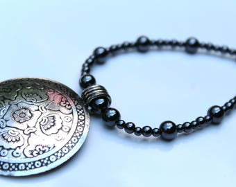 Large Silver Pendant, Black and Silver Beaded Necklace, Short Statement Necklace, Round Pendant Beaded Necklace
