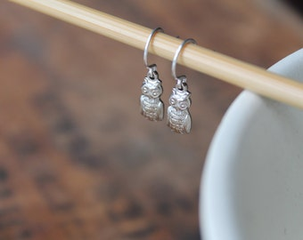 Bemidji Tiny Silver Owl Earrings on Silver Plated Wires - The Perfect Everyday Pair for the Cutest of Hipsters - Chi Omega