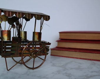 Brass Tarnished Flower Cart / Vintage / Antique / Figurine / Gift for Her / Valentine's Day / Unique / Small / Gold / Feminine