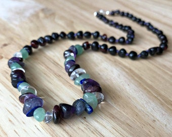 Headache Relief Necklace for Migraines - gemstones for headaches, migraines, shoulder pain, natural pain relief, adult amber necklace