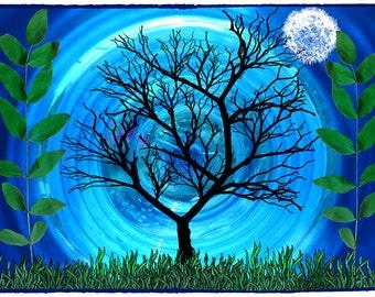 full moon print, tree art print, fantasy prints, moon art print, art collage, fantasy printables, nature wall art print, tree artwork