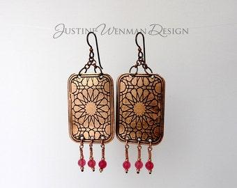 Copper Earrings Etched w/ Stars Motif, Dangling Pink Beads, For Pierced Ears