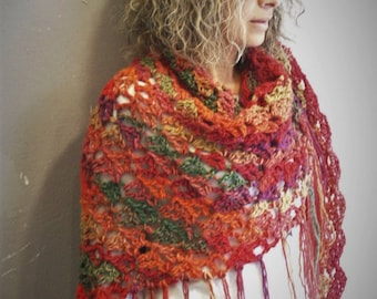 Triangular multicolor handmade shawl with fringes, crochet