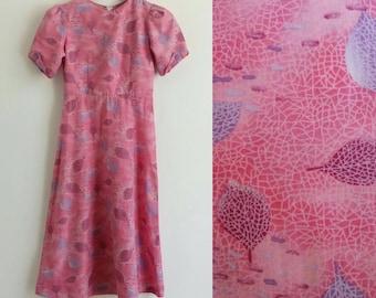 XS vintage dress, Vintage dress, Midi dress, Pink dress, Summer dress
