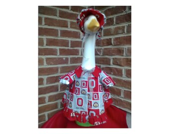 Goose Clothing  -  Ohio State Buckeye Scarlet and Gray Football Goose Dress for Plastic and Concrete Lawn Goose
