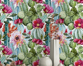 Watercolor Cactus Wallpaper - Removable Wallpapers - Floral Cactus Plant Wallpaper - Self Adhesive Wall Decal - Temporary Peel and Stick
