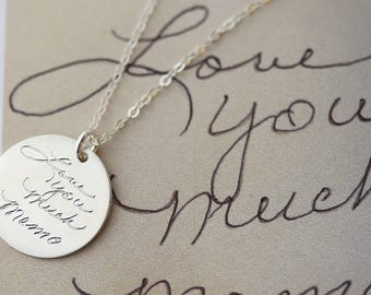 Custom Handwriting Necklace // Keepsake Jewelry // Mom gift // Gift for her // Personalized disc Necklace