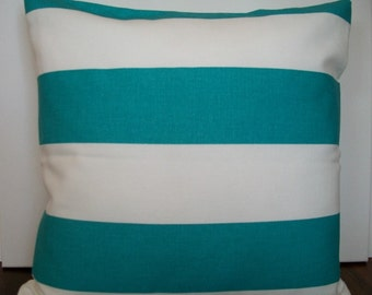 Teal and white striped pillow cover